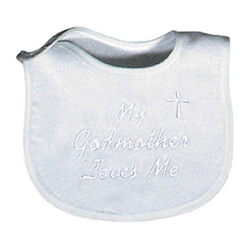"Unisex Baby ""My Godmother Loves Me"" Embroidered Bib, Binding by Raindrops"