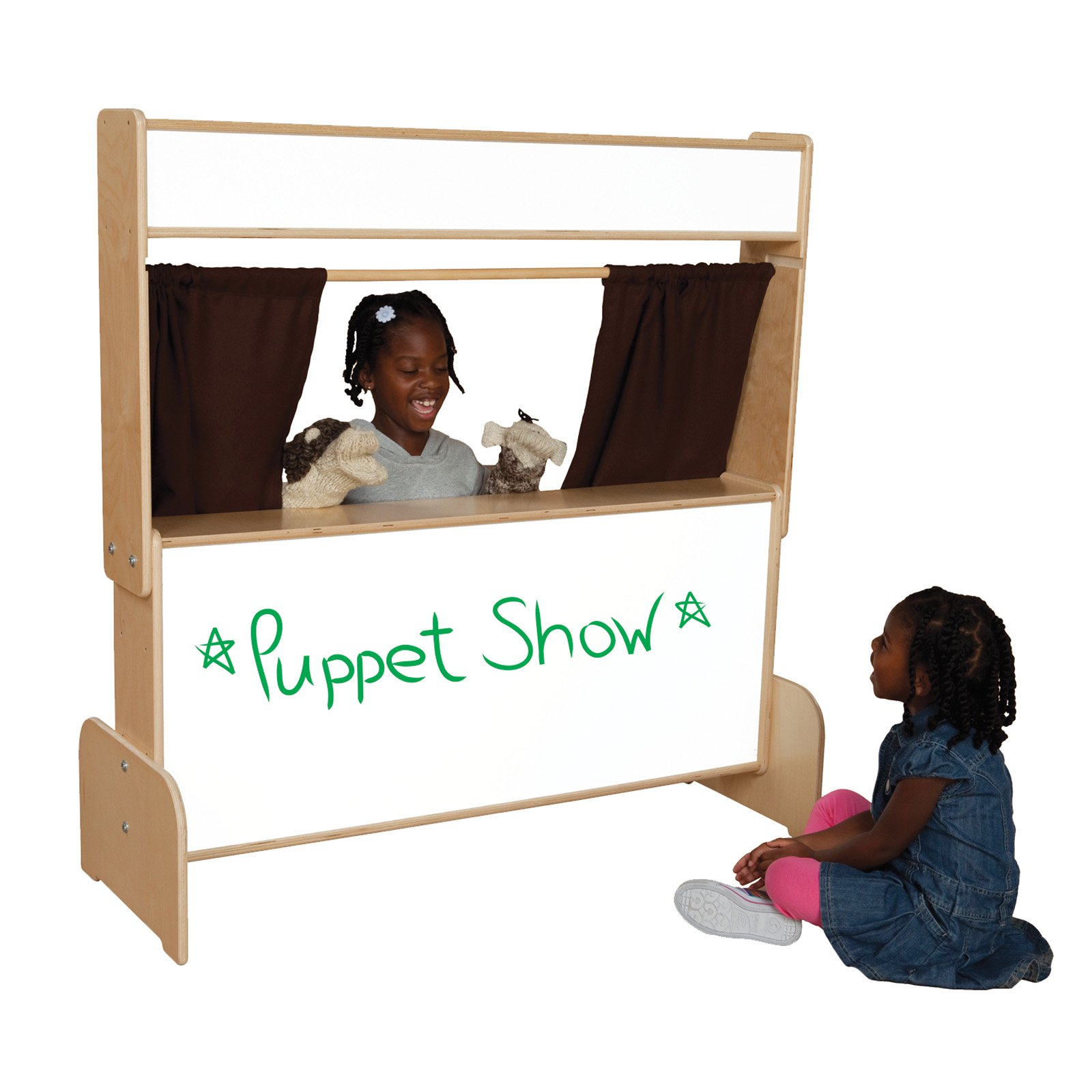Wood Designs 21651BN Markerboard Puppet Theater With Brown Curtains