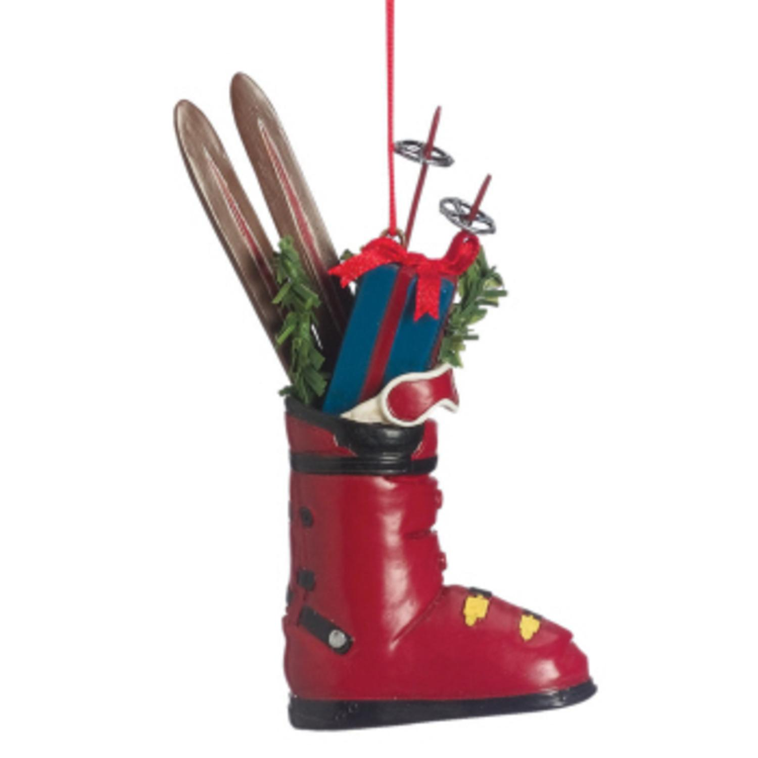 "4.5"" Resin Ski Boot with Gifts Christmas Ornament"