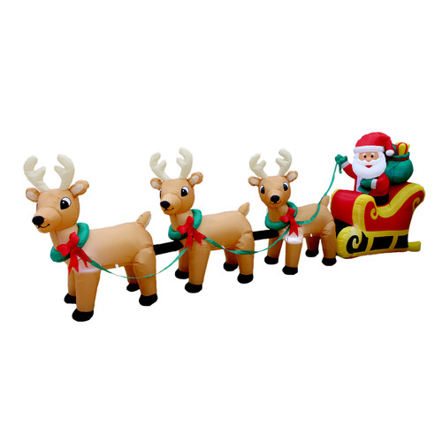 BZB Goods Christmas Inflatable Santa Claus on Sleigh with Three Reindeer Decoration