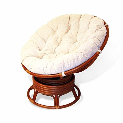 rattan wicker swivel rocking round papasan chair with cushion colonial (light brown)