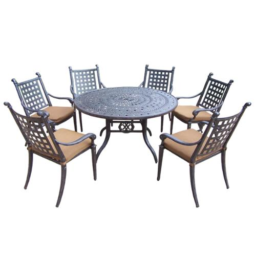 Oakland Living Corporation Cast Aluminum 7-piece Dining Set with 6 Sunbrella Cushioned Chairs
