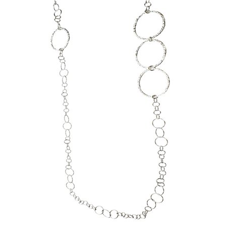 Sterling Silver Flat Hammered Circle Large Links 42 Inch Long Necklace