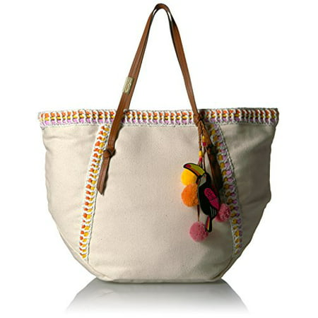 Foley + Corinna Beach Tote with Charm, Orange Trim/Toucan