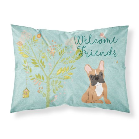 Welcome Friends Fawn French Bulldog Fabric Standard Pillowcase -