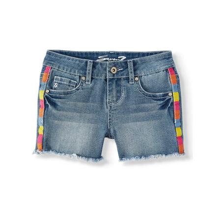 Seven7 Rainbow Side Stripe Denim Short (Big Girls)