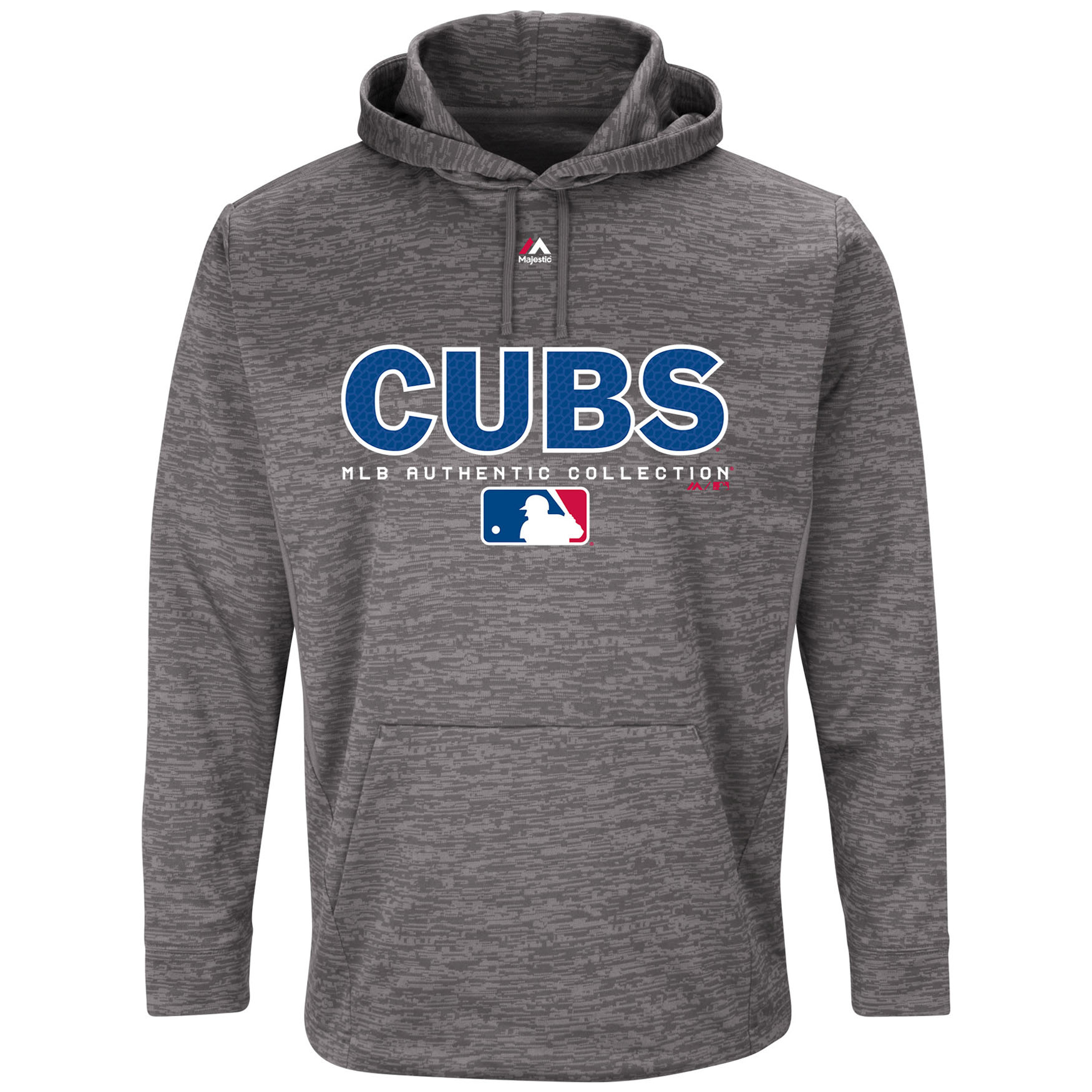 Chicago Cubs Majestic Authentic Collection Team Drive Ultra-Streak Fleece Pullover Hoodie - Graphite