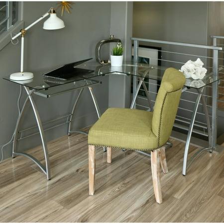 walker edison l shaped glass computer desk multiple colors. Black Bedroom Furniture Sets. Home Design Ideas