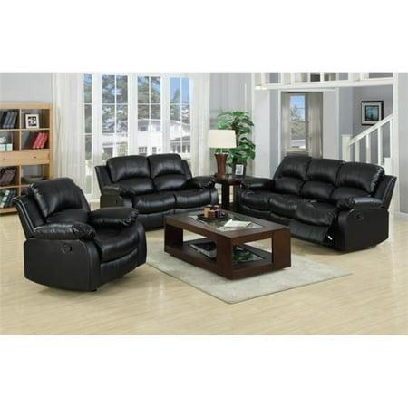 Myco Furniture 1075S-BLK Black Kaden Bonded Leather Sofa ()