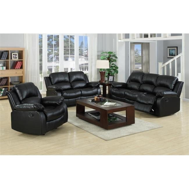 Myco Furniture 1075S BLK Black Kaden Bonded Leather Sofa