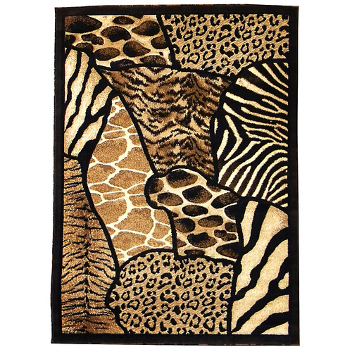 DonnieAnn Company Animal Skin Prints Patchwork Design Brown Area Rug