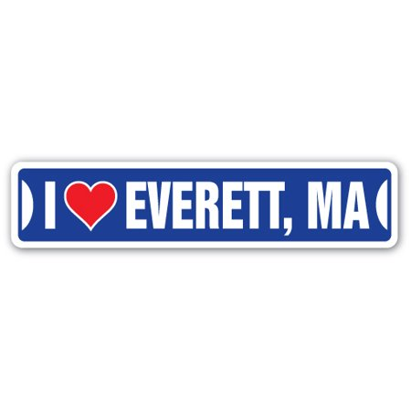 I LOVE EVERETT, MASSACHUSETTS Street Sign ma city state us wall road décor gift](Party City Ma)