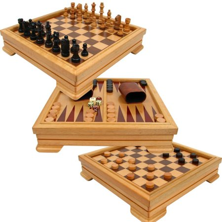 Brown Deluxe Board - Deluxe 7-in-1 Game Set - Chess, Checkers, Backgammon and More, Brown, Game board dimensions: 2.75 x 12 x 12 By Trademark Games