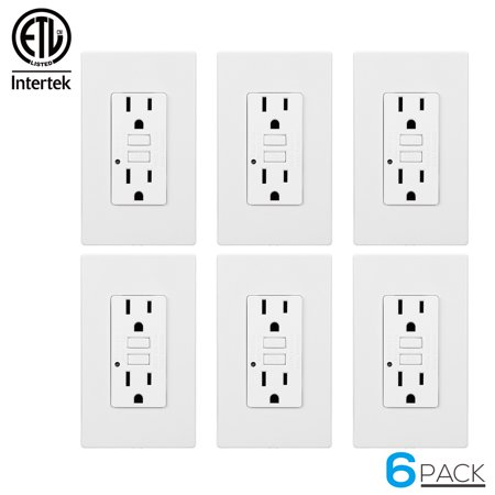 Dual Wall Plate - TORCHSTAR 15 Amp GFCI Receptacles, Dual AC Outlets, Surge-Protected, 2 Wall Plate Included + LED Indicator Light, 120V, White, Pack of 6