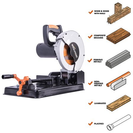 "Evolution Power Tools 7-1/4"" Multi-material Cutting Chop Saw, RAGE4"