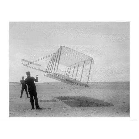 Wilbur and Orville Wright Flying Glider Photograph Print Wall Art By Lantern Press - Flying Gliders
