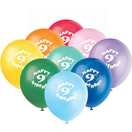 12 Latex Happy 9th Birthday Balloons 6ct