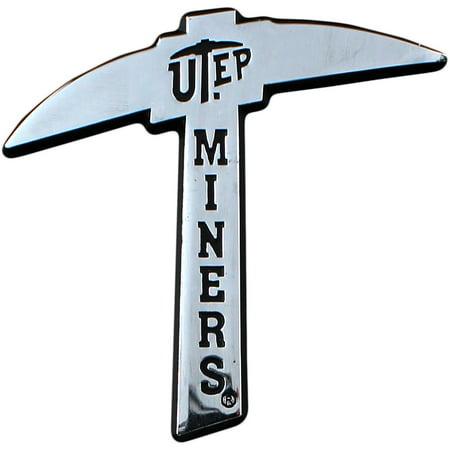 UTEP Miners Chrome Solid Metal Team Logo Auto Emblem