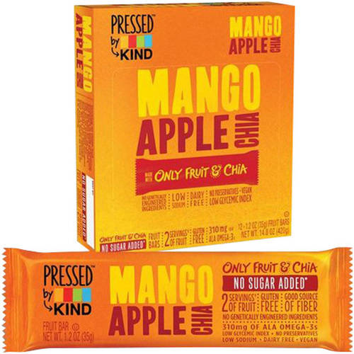 Pressed by Kind Mango Apple Chia Fruit Bar, 1.2 oz, 4 pack, (Pack of 6)