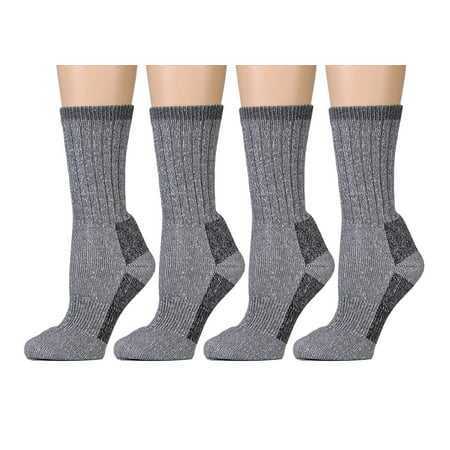 Yacht & Smith Merino Wool Socks for Hiking, Trail, Hunting, Winter, (4 Pairs Gray, Womens 9-11)