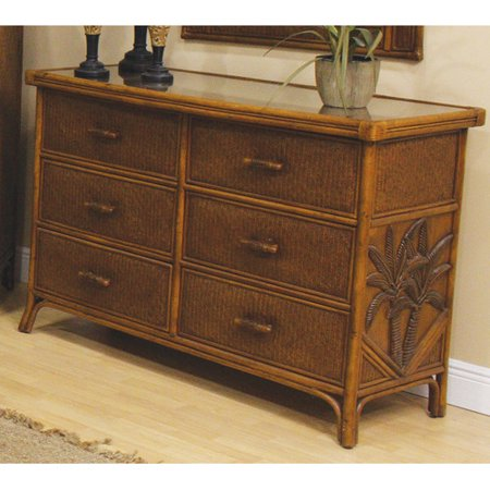 Hospitality rattan cancun palm 6 drawer dresser for Bamboo bedroom furniture sets