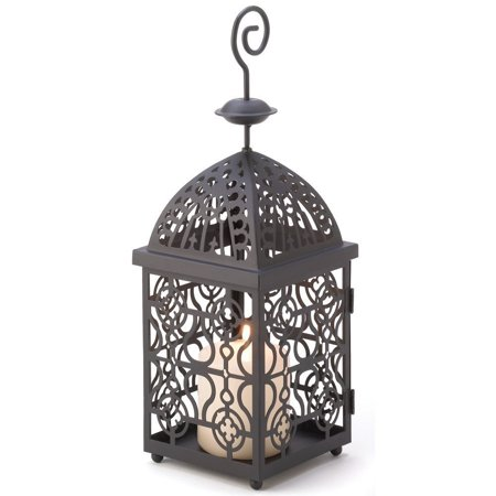 Metal Candle Lantern Holder Stand Antique Iron Birdcage Hanging Candle Holder Classic Decorative Candleholder Lantern Brushed -