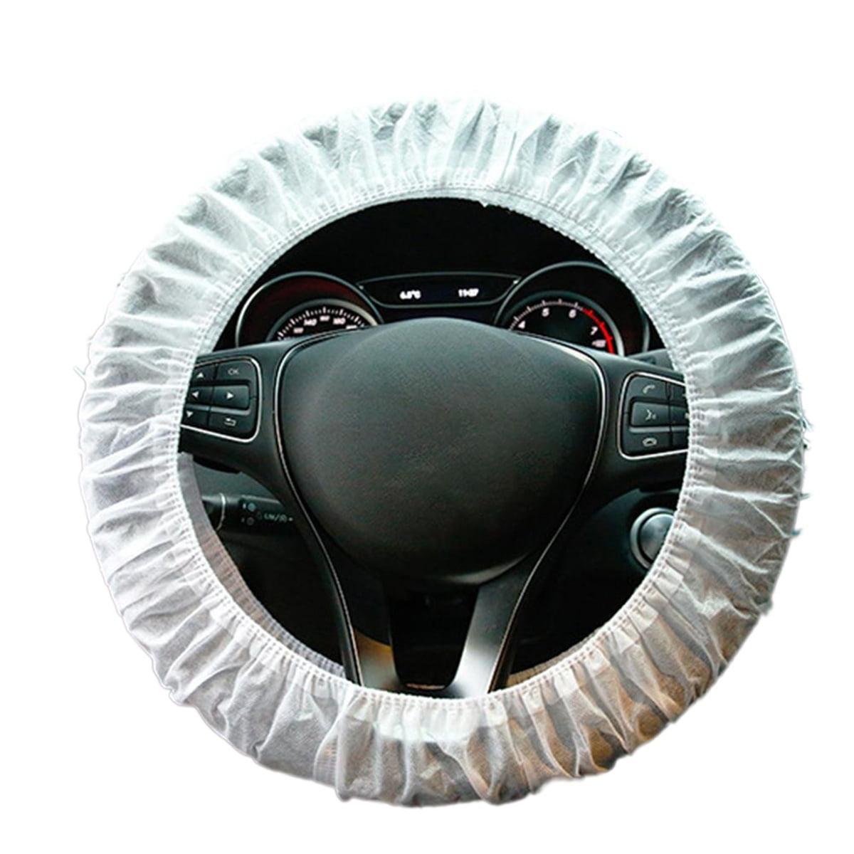100 Pcs Disposable Steering Wheel Cover Plastic Dustproof Universal Car Steering Wheel Cover