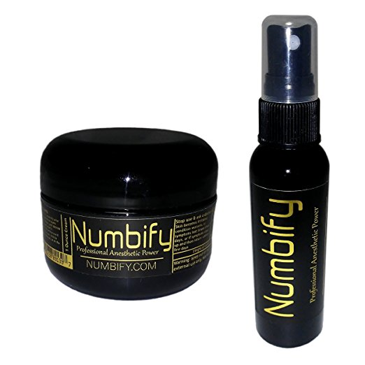 Numb-ify Get It Numb, Keep It Numb Combo Pack - 5% Extra Strength Numbing Power (Medium - 1 Oz Cream and 2 Oz Spray)