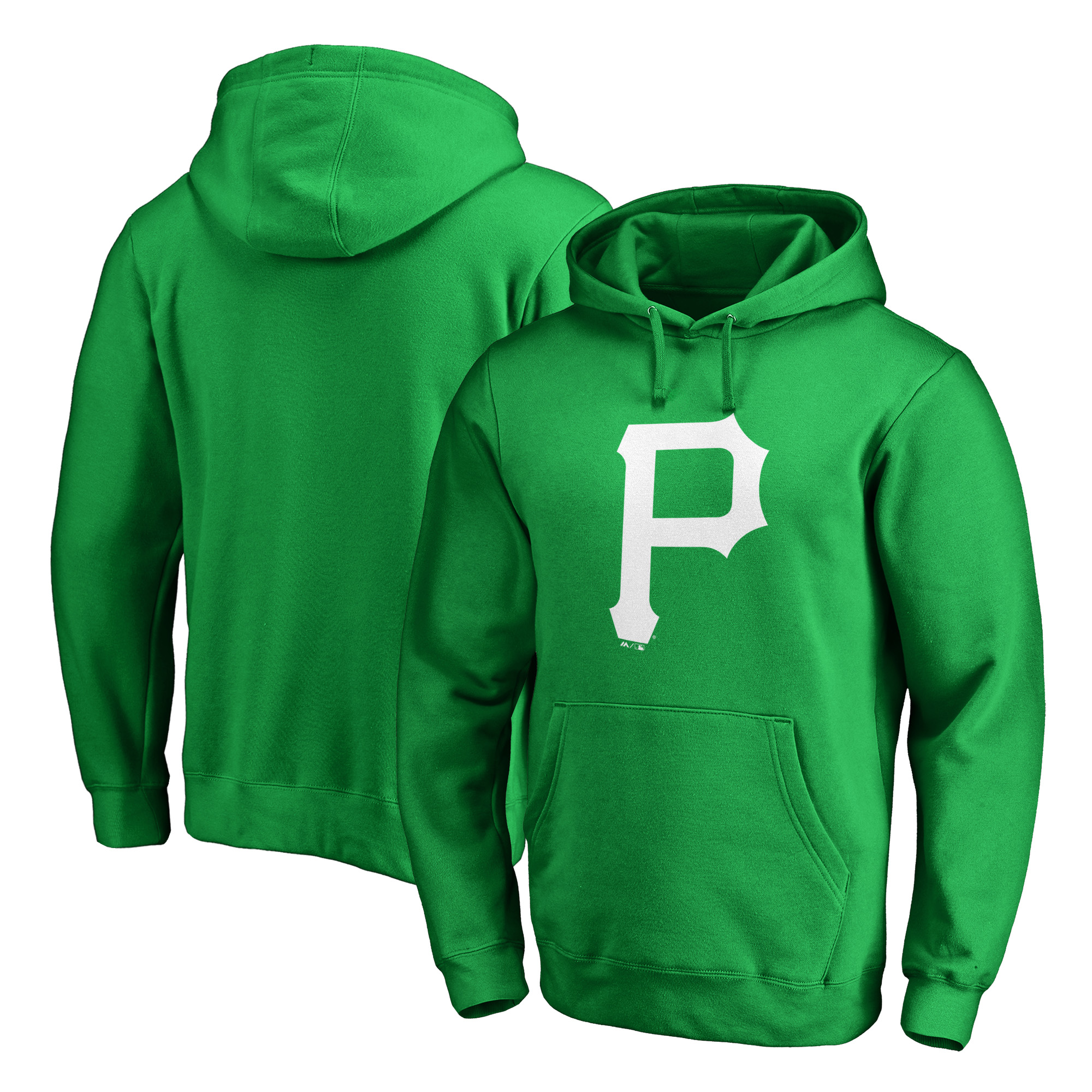Pittsburgh Pirates Majestic St. Patrick's Day White Logo Pullover Hoodie - Kelly Green
