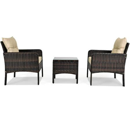 Costway 3PCS Outdoor Rattan Conversation Set Patio Garden Furniture Cushioned Sofa Chair - image 5 of 10