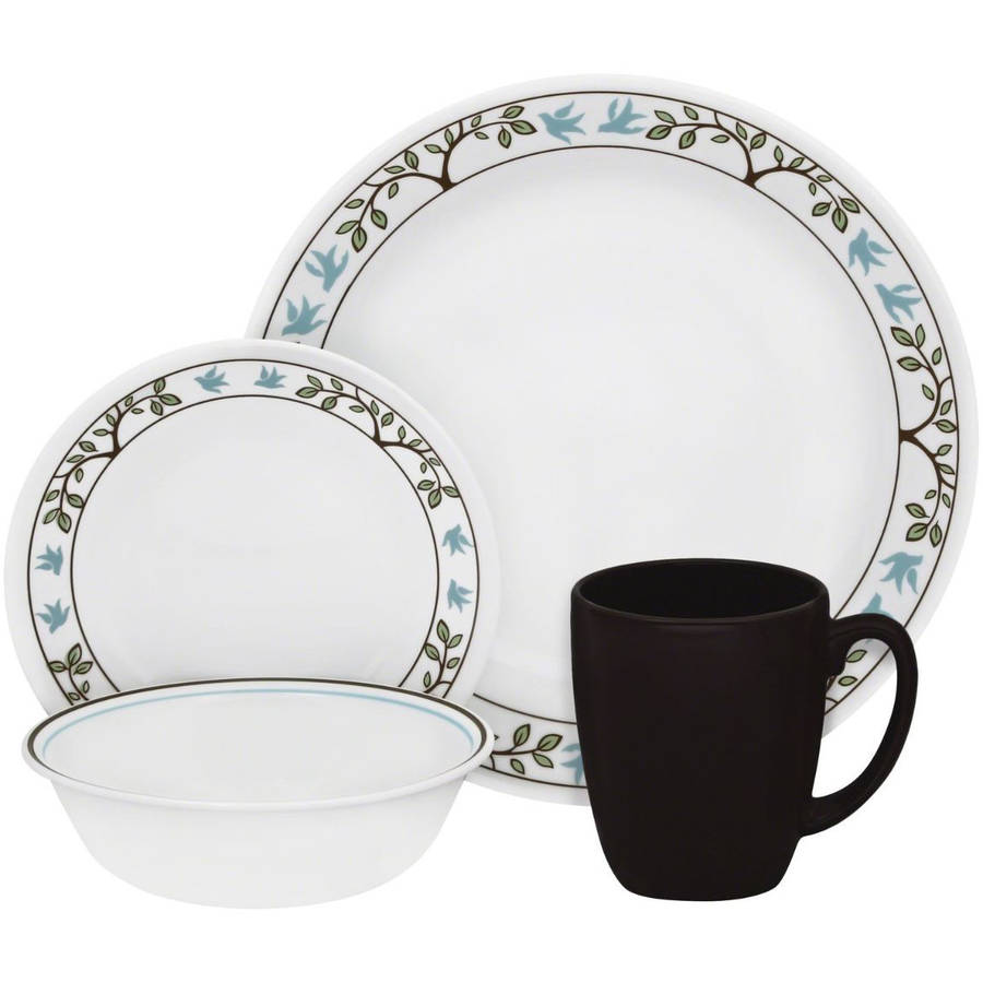 corelle livingware tree bird 16 piece dinnerware set - White Dinnerware Sets