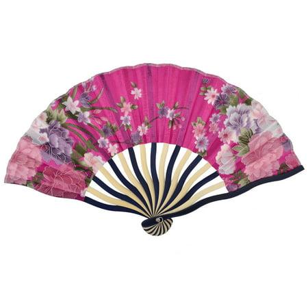 Lady Bamboo Frame Flower Print Chinese Style Summer Hand Fan Fuchsia 21cm Length
