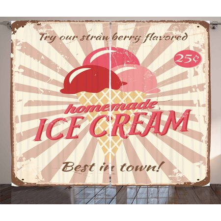 Ice Cream Curtains 2 Panels Set, Vintage Style Sign with Homemade Ice Cream Best in Town Quote Print, Window Drapes for Living Room Bedroom, 108W X 96L Inches, Red Coral Cream Tan, by