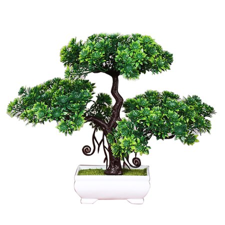 Artificial Plant in Pots, Justdolife Artificial Pine Fake Trees Artificial Potted Plant Bonsai Home Office Desk Decor for Indoor Outdoor