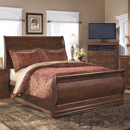 Ashley Wilmington Wood Queen Sleigh Bed In Brown Walmart Com