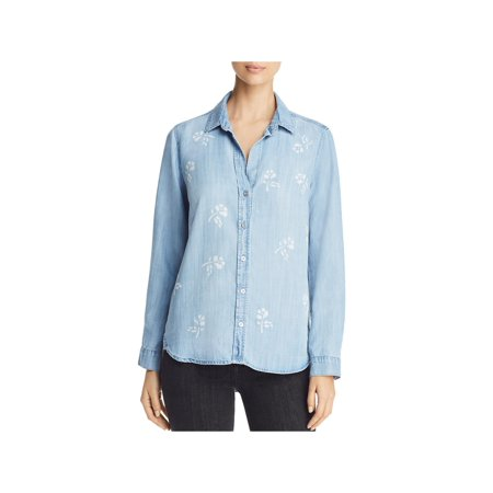 Side Stitch Womens Tencel Floral Print Button-Down Top Blue S