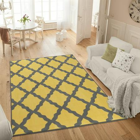 Ottomanson Studio Collection Yellow Moroccan Trellis Design Area or Runner Rug