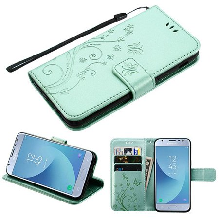 Pattern Flip Wallet Case Cover Stand Magnetic Buckle Hand Strap Purple 3D Butterfly Flower TEAL GREEN Phone Case For Samsung Galaxy J3 2018, J337, J3 V 3rd Gen, J3 Star, J3 Achieve, Express Prime 3 (Halloween Class Party For 3rd Graders)