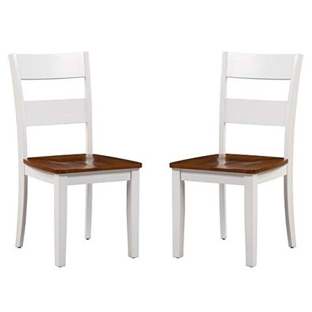 Asia Chair (Trithi Furniture Fullerton Asian Solid Wood White Kitchen & Dining Chair with Cherry Wood Seat, Set of 2 )