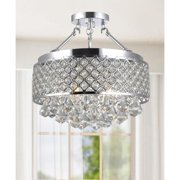 The Lighting Store Candice Chrome and Crystal Semi Flush Mount Chandelier