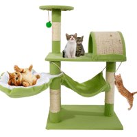 "Zimtown 32""H Cat Climbing Tree Tower Condo Scratcher Furniture Kitten House Hammock with Scratching Post and Toys for Cats Kittens Playhouse"