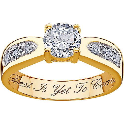 Personalized 18K Gold Over Silver Cubic Zirconia Promise Ring