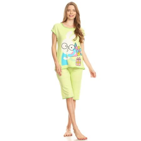 15012C Womens Capri Set Sleepwear Cotton Pajamas - Woman Sleeveless Sleep Nightshirt Green 56 L Cotton Sleeveless Capri Pajama
