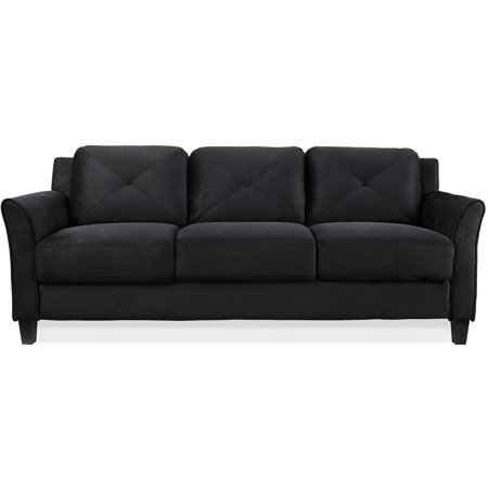 "Lifestyle Solutions Taryn 78.75"" Curved-Arm Sofa, Black"