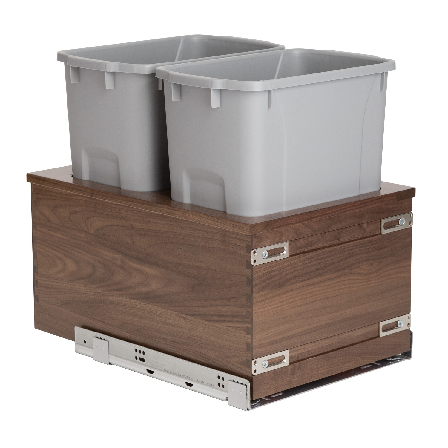 Century Components Riviera Collection RIVBM17PF Walnut Kitchen Pull Out Waste Bin Container - 34 Qt Gray Double - Soft-Close 170 lb. MOVENTO 769 Slides, 17-7/8""