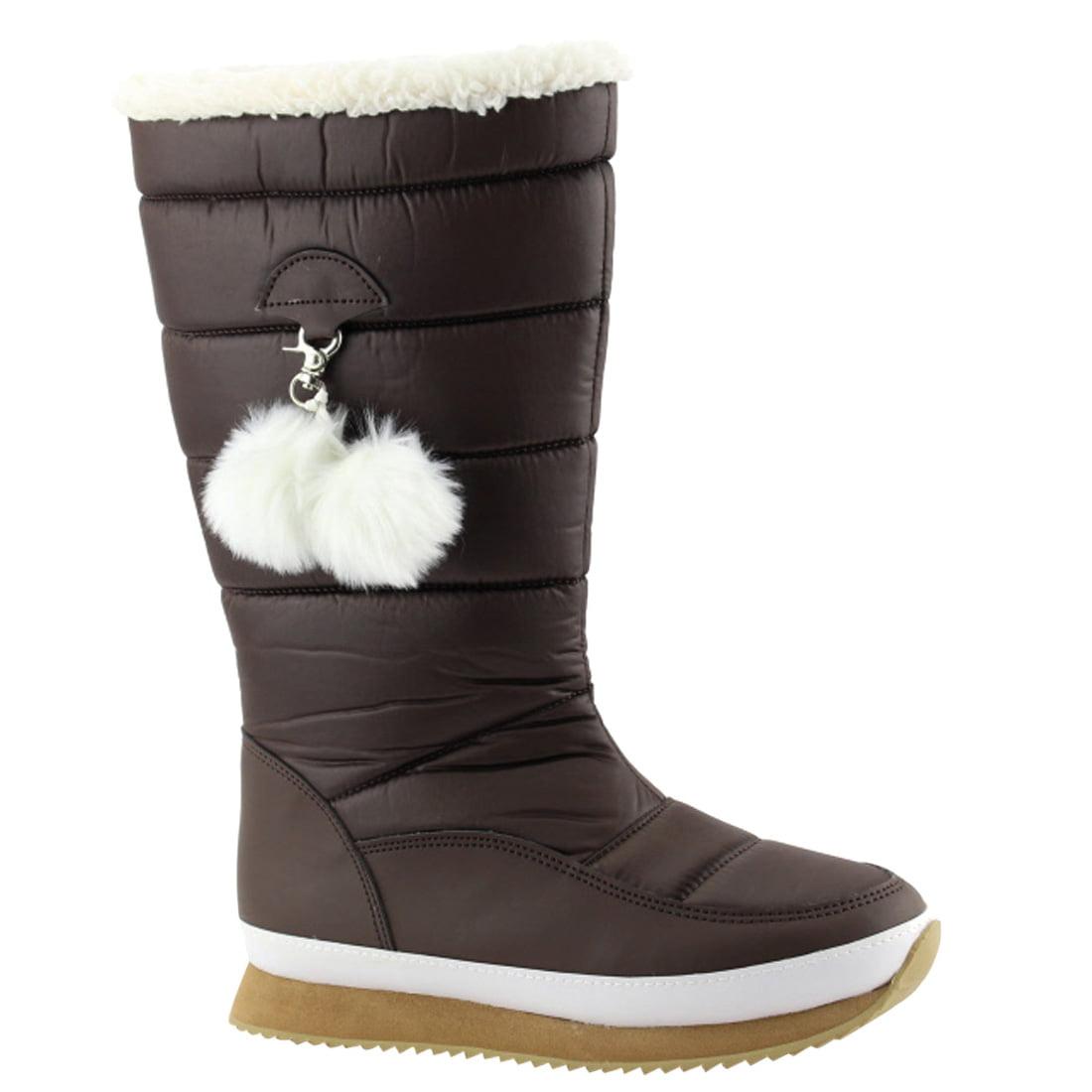 NATURE BREEZE EK88 Women's Pompom Tick Sole Mid Calf Cold Weather Snow Boots by