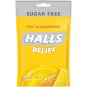 HALLS Relief Sugar Free Honey-Lemon Flavor Cough Drops, 1 Bag (25 Total Drops)