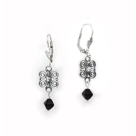 (Sterling Silver Scroll Flower and Crystal Leverback Drop Earrings, Red)