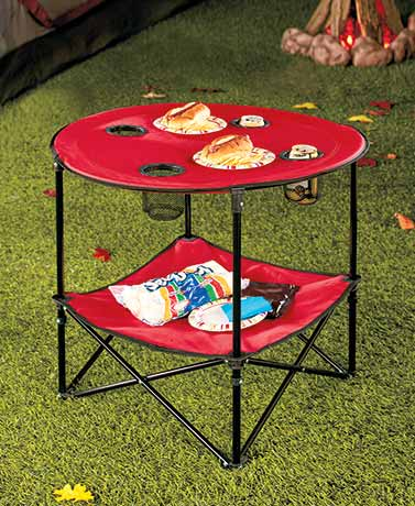 Folding Picnic Table With Shelf ( Red )
