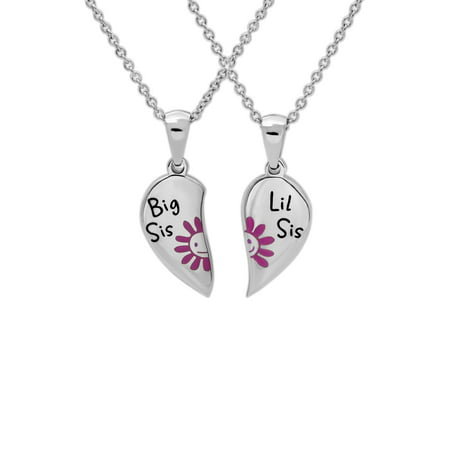 Stainless Steel Big Sis LiL Sis Breakaway Heart Pendants, 18 Chain with 2 Extender